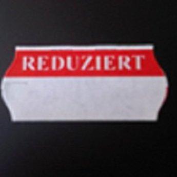 Etiket 26x12 golfrand  wit met rode bedrukking:   Reduziert .  Doos met 36 rollen