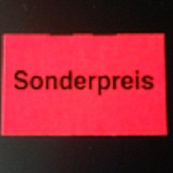 Etiket 26x16 rechthoek fluor rood met bedrukking Sonderpreis,  36 rollen