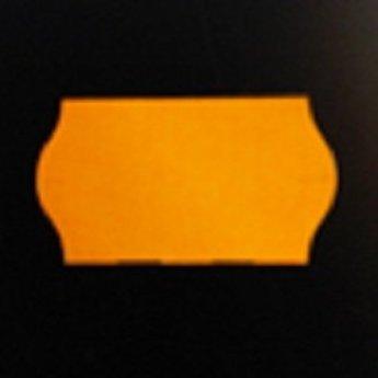 Etiket 22x12 golfrand fluor oranje afneembaar 2-slitjes in onderpapier  63.000 etiketten  (42 rollen