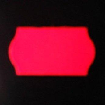 Etiket 22x12 golfrand fluor rood afneembaar 2-slitjes in onderpapier  63.000 etiketten  (42 rollen