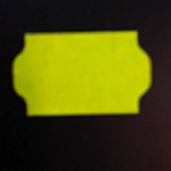 Etiket 3219 golfrand fluor geel permanent 2slit, doosinhoud 30 rollen