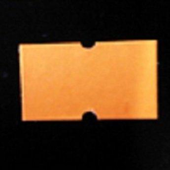 Etiket 2112 fluor oranje permanent met gaatje tussen de etiketten, etiketten aan de buitenzijde op de rol, doosinhoud 50 rollen