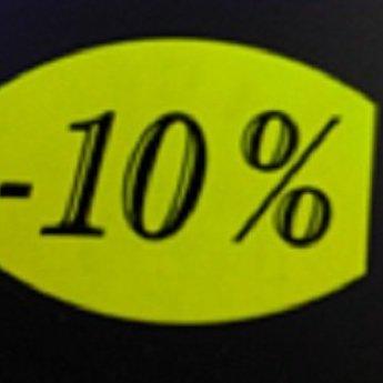 Etiket fluor geel 33x25mm -10 procent   500/rol, kleefkracht AFNEEMBAAR. Kortingsetiketten, procentetiketten, afprijs-etiketten.