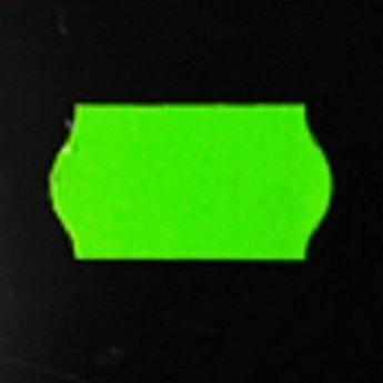 Etiket 22x12 golfrand fluor groen permanent 2-slitjes in onderpapier  63.000 etiketten  (42 rollen