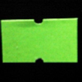 Etiket 2112 fluor groen permanent met gaatje tussen de etiketten, etiketten aan de buitenzijde op de rol, doosinhoud 50 rollen