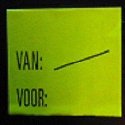 Etiket 2928 fl.geel perm Van:/  Voor: