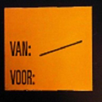 Etiket 2928 fluor oranje Van:/  Voor:   , doosinhoud 30 rollen