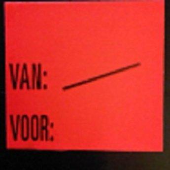 Etiket 2928 fluor rood perm Van:/  Voor:   , doosinhoud 30 rollen