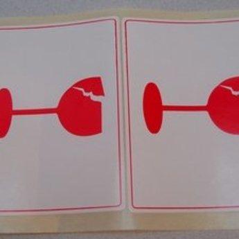 Etiket voor op pakketten wit/rood 98x71 mm bedrukking:  pictogram met glas, 500 per rol