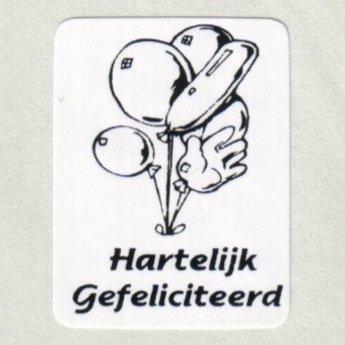 Gelegenheidsetiketten - Hartelijk Gefeliciteerd - met ballonnen wit/blauw 25x33 mm 500/rol