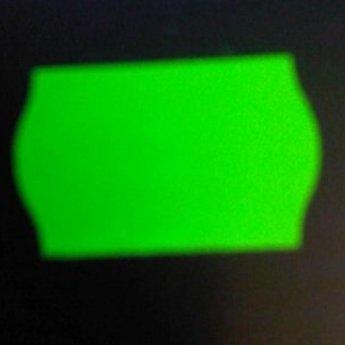 Etiket 2616 fluor groen permanent 2-slit golfrand  39.600 etiketten ( 36 rollen