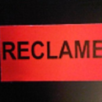 Etiket 3719 fluor rood  permanent, bedrukt: RECLAME, 25 rollen