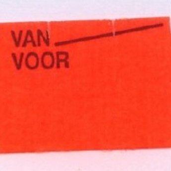 Etiket 26x16 golfrand fluor rood afneembaar bedrukt >> Van Voor <<  39.600 etiketten. ( 36 rollen