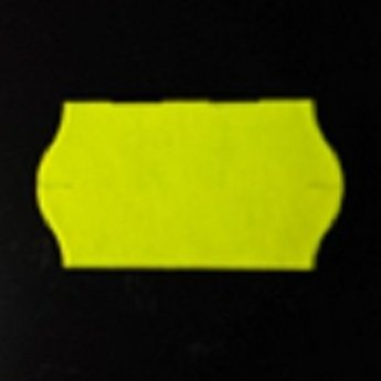 Etiket 22x12 golfrand fluor geel permanent 2-slitjes in onderpapier  63.000 etiketten  (42 rollen