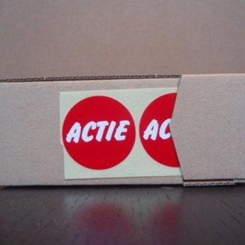Etiket rood/wit 35mm bedrukking: ACTIE , aantal 500 per rol. Kleefkracht afneembaar.