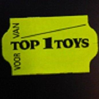 Etiket 32x19 Top1Toys fluor geel met zwarte bedrukking in het midden:  Top 1 Toys , kleefkracht afneembaar. 30 Rollen per doos.