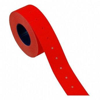 Etiket 2112 fluor rood permanent met gaatje tussen de etiketten, uitvoering met veiligheidsstanzing in de etiketten, etiketten aan de buitenzijde op de rol, doosinhoud 50 rollen