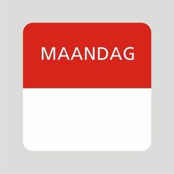 Etiket of daglabel maandag wit met bedrukking in rood permanent klevend, geschikt voor in de diepvries, afmeting 25x25mm. 500 Stuks per rol.