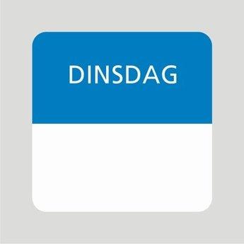 Etiket of daglabel dinsdag wit met bedrukking in blauw permanent klevend, geschikt voor in de diepvries, afmeting 25x25mm. 500 Stuks per rol.