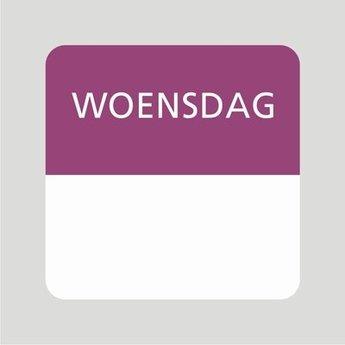 Etiket of daglabel woensdag wit met bedrukking in paars permanent klevend, geschikt voor in de diepvries, afmeting 25x25mm. 500 Stuks per rol.