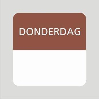 Etiket of daglabel donderdag wit met bedrukking in bruin permanent klevend, geschikt voor in de diepvries, afmeting 25x25mm. 500 Stuks per rol