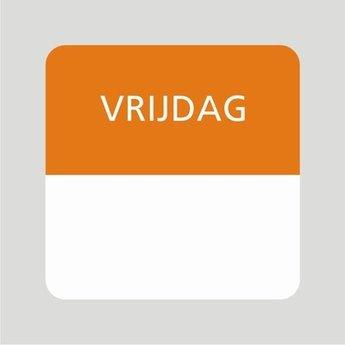 Etiket of daglabel vrijdag wit met bedrukking in oranje permanent klevend, geschikt voor in de diepvries, afmeting 25x25mm. 500 Stuks per rol.