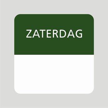 Etiket of daglabel zaterdag wit met bedrukking in groen permanent klevend, geschikt voor in de diepvries, afmeting 25x25mm. 500 Stuks per rol.