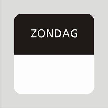 Etiket of daglabel zondag wit met bedrukking in zwart permanent klevend, geschikt voor in de diepvries, afmeting 25x25mm. 500 Stuks per rol.