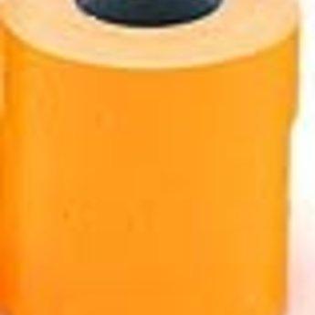 Etiket 2112 fluor oranje permanent met gaatje tussen de etiketten, etiketten aan de buitenzijde op de rol, inhoud verpakking 6 rollen