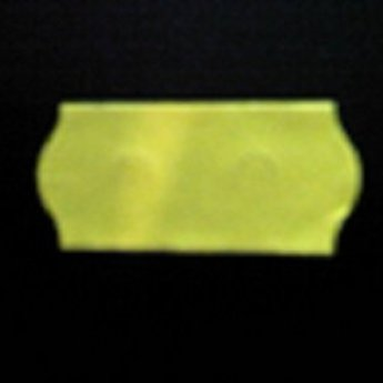 Etiket 26x12 golfrand fluor geel permanent  2-sl  54.000  (=36 rollen a 1500 etiketten) Gommering / kleefkracht 2.<br /> Voorzien van SS-snit, security cuts, zekerheidsstanzing