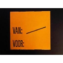 Etiket 2928 fl.oranje afn. Van:/  Voor: