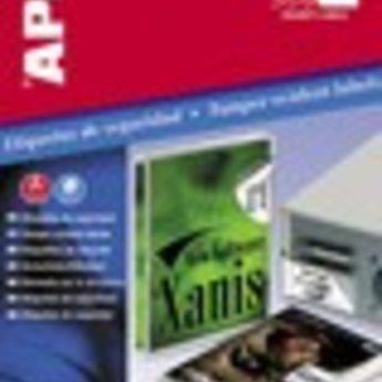 Apli Apli-nr. 11273  Apli Security labels 63,5x29,6 mm op A4,  3x9 etiketten per A4, 10 vellen per pak. Indien de etiketten na een periode van 8 uren van een voorwerp afgehaald worden, blijft er een waarschuwingsboodschap   STOP   zichtbaar.