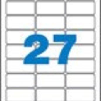 Apli Apli-nr. 11274  Silver inkjet polyester labels 10st A4 vellen , met etiket afmeting 63,5x29,6mm. (3x9 etiketten) zelfklevend
