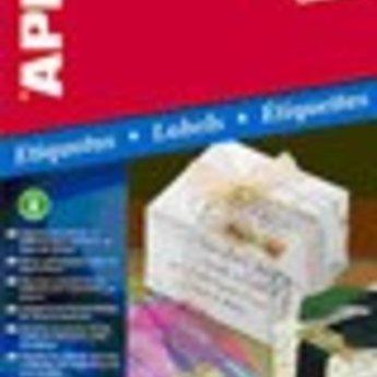 Apli Apli-nr. 11275  Gold inkjet polyester labels 10st A4 vellen , met etiket afmeting 63,5x29,6mm. (3x9 etiketten) zelfklevend