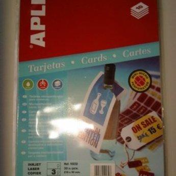 Apli Apli-nr. 10232  Strung cards microperforated 99x210mm, om aan flessenhals te hangen, voor inkjet laser en copier. 10 vel