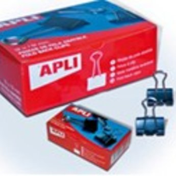Apli Apli.Nr. 11950  Fold back clips black  32 mm - Papierklemmen 32mm voor papier tot 14mm dik, verpakt12 stuks.