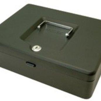 Cash-box / geldkist  10 inch / 25cm  met slot en inzet voor kleingeld. Kleur zwart. Heeft een inzetbak met 2 papiergeld vakken en 3 muntvakjes. Daaronder nog mogelijkheid voor opbergen van andere documenten.? Type slot: sleutel.? Handige, wegklapbare ha