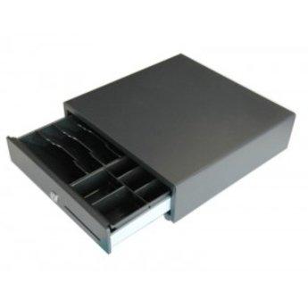 Kassalade, smalle diepe lade, met fronttouch. Kleur zwart. Inzet met 8 munt(en) en 5 verticale biljetvakken Afmeting Inzet: 300mm(B) x 235mm(D) x 50mm(H)  Agfmeting buitenzijde 335(B)x335(D)x90(H)mm   Front Touch met gleuf