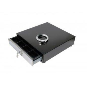 Geldlade breed 8munt-4papier met USB aansluiting voor op PC, belsignaal en RVS front. Afmeting- bxhxd 40.5x42.3x11,3 cm
