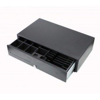 Geldlade breed zwart 24V 1A - breedte 50cm x 28cm diep x 13,2cm hoog.8 munt en 6 papier 500(B)x280(D)x132(H)mm Zwart 12 of 24V met RJ