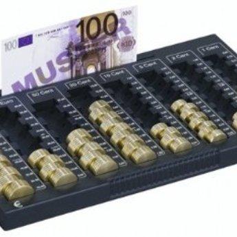Munten sorteer en telbakje EUROBOARD L heeft acht schachten voor alle cent- en euromunten. Capaciteit: 233,90 ?. Eenduidige aanduidingen telkens per vijf munte, geven een exact overzicht van de hoeveelheid munten. Biljetten kunnen voor het wisselen in de