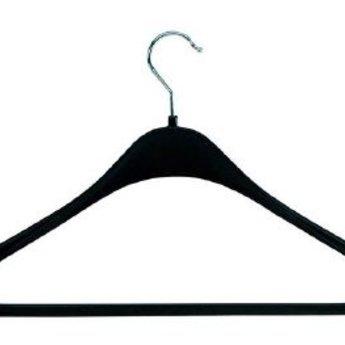 Hanger zwart F44     kostuum/mantel/jack. Sterke voorgevormde simpele hanger. 140 stuks.