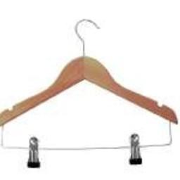 Houten kinderhanger 34cm + 2 knijpers