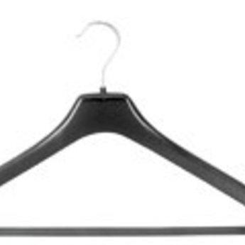 Hanger zwart NF44 - 44 cm breed, met broeklat doosinhoud 100 stuks. (Hiervan draait de haak niet)