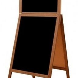 Krijtstoepbord FINE bxh 61x118+23cm maho