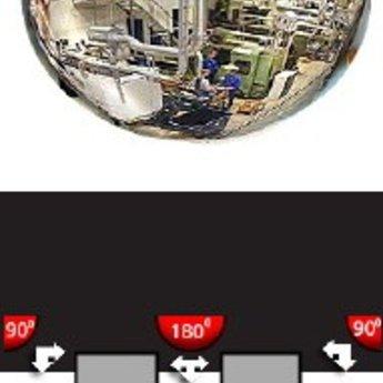 Bewakingsspiegel 1/2e halve bol 50 cm ABS, met ophangboorgaten in de rand. Optimale zichtafstand 0-3 meter. Halve halve bolspiegel. (+/-90 graden panoramisch)