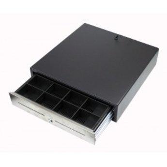 Geldlade breed 8munt-4papier met 24 Volt RJ aansluiting (telefoonstekkertje) voor op PC, belsignaal en RVS front. Afmeting- bxhxd 40.5x42.3x11,3 cm