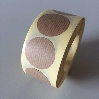 Etiket 35 mm rond KRAFT BRUIN kleefkracht permanent, aantal etiketten 1000 stuks op rol.