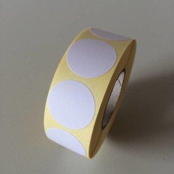 Etiket 25 mm rond wit kleefkracht permanent, aantal etiketten 1000 stuks op rol.