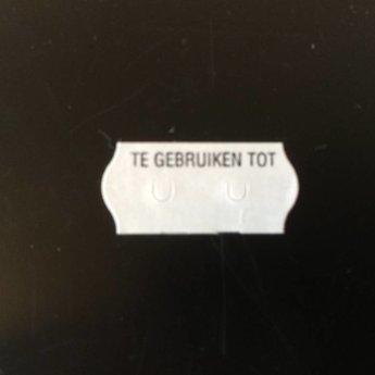 Etiket 26x12 golfrand wit permanent bedrukt >> Te gebruiken tot << 2-sl 54.000 (=36 rollen a 1500 etiketten) Gommering / kleefkracht 2